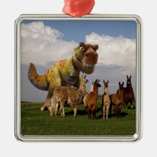 T Rex Llamas Metal Ornament