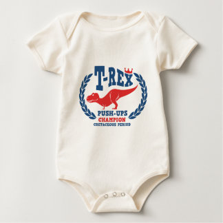 T-Rex Loves Push-Ups Baby Bodysuit