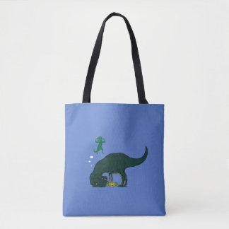 T Rex making a wish Tote Bag
