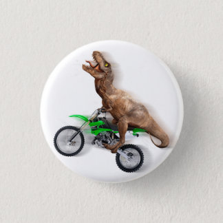 T rex motorcycle - t rex ride - Flying t rex 1 Inch Round Button