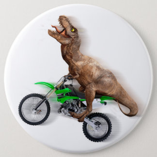 T rex motorcycle - t rex ride - Flying t rex 6 Inch Round Button