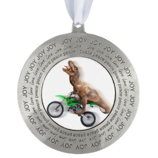 T rex motorcycle - t rex ride - Flying t rex Pewter Ornament