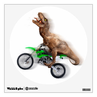 T rex motorcycle - t rex ride - Flying t rex Wall Decal