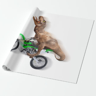 T rex motorcycle - t rex ride - Flying t rex Wrapping Paper