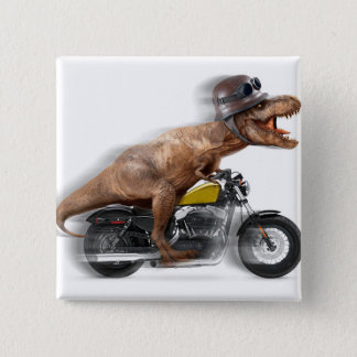 T rex motorcycle-tyrannosaurus-t rex - dinosaur 2 inch square button