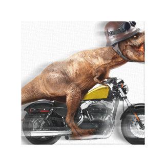 T rex motorcycle-tyrannosaurus-t rex - dinosaur canvas print