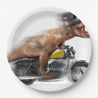 T rex motorcycle-tyrannosaurus-t rex - dinosaur paper plate