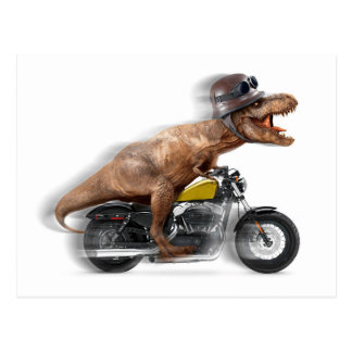 T rex motorcycle-tyrannosaurus-t rex - dinosaur postcard