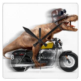 T rex motorcycle-tyrannosaurus-t rex - dinosaur square wall clock