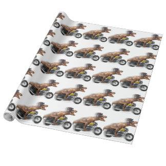 T rex motorcycle-tyrannosaurus-t rex - dinosaur wrapping paper