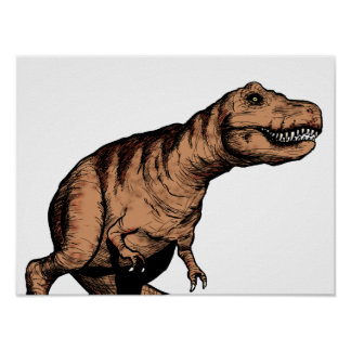 T-Rex pen and ink illustration Poster