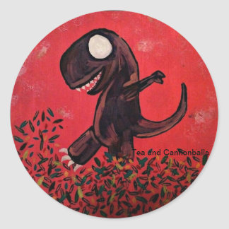 T-Rex Plays In The Leaves Classic Round Sticker