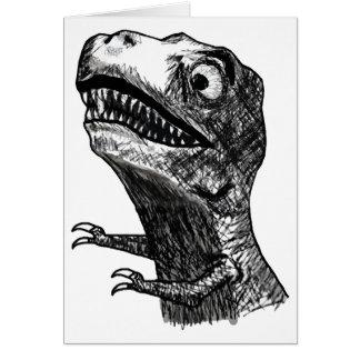 T-Rex Rage Meme - Greeting Card
