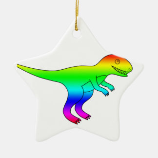 T-Rex Rainbow Funny Natural Christmas Tree Ornaments