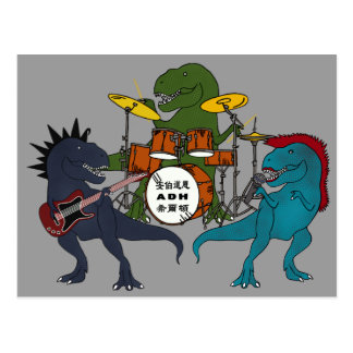 T-Rex Rock Band Postcard