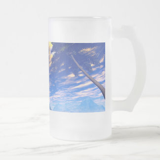 T-rex skeleton frosted glass mug