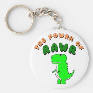 T-Rex The Power Of RAWR Basic Round Button Keychain