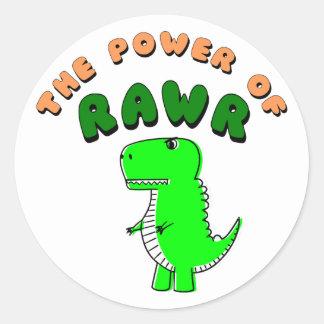 T-Rex The Power Of RAWR Classic Round Sticker