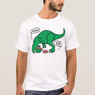 T-REX trying to eat a donuts T-shirt