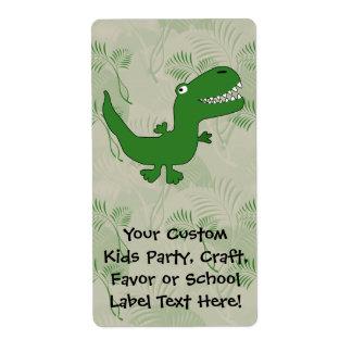 T-Rex Tyrannosaurus Rex Dinosaur Cartoon Kids Boys Shipping Label