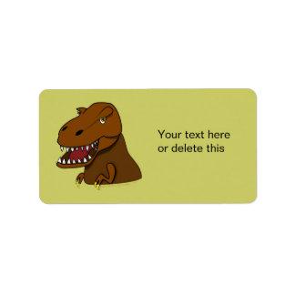 T-Rex Tyrannosaurus Rex Scary Cartoon Dinosaur Address Label