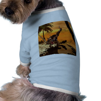 T-rex with armor in the sunset doggie t-shirt