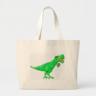 T-Rex with Teddy Bear Large Tote Bag