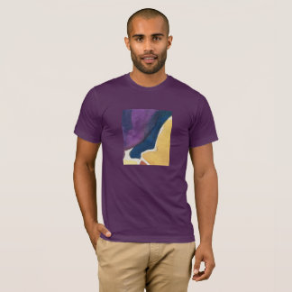 T-shirt abstract design, eggplant, slate, gold