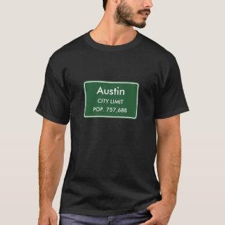 T-shirt Austin, signe de limites de ville de TX