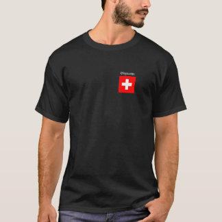 T-shirt basic black with Swiss cross