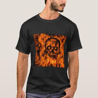 T-shirt black color prints skull in flames