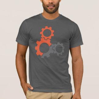 T-shirt Conception de vitesses de vélo, orange et grise