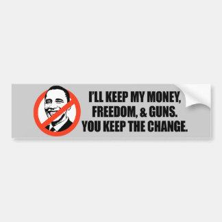 T-shirt d'Anti-Obama - vous gardez le changement Autocollant De Voiture