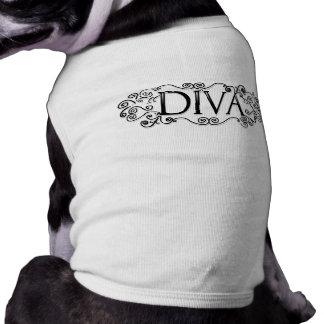 T-shirt de chien - DIVA - conception de noir et de Manteau Pour Toutous
