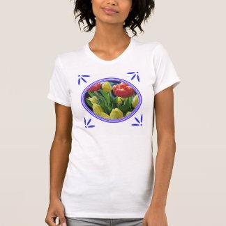 T-shirt de Delft-Bleu-Tuile-Regard de tulipes de