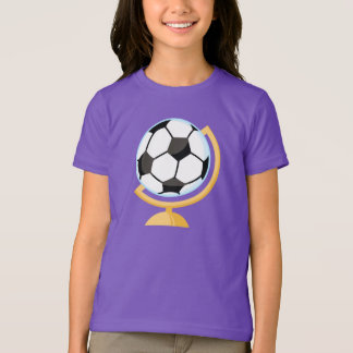 T-shirt de filles de globe de ballon de football