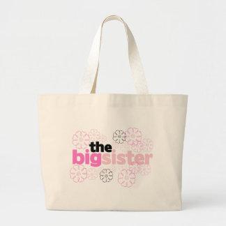 T-shirt de fleur de grande soeur sac en toile jumbo