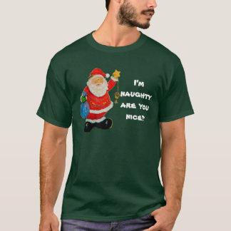 T-shirt de Noël des hommes vilains ou Nice, vert