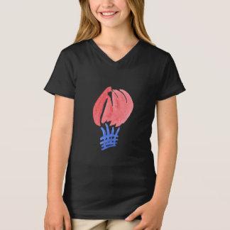 T-shirt de V-Cou du Jersey des filles de ballon à