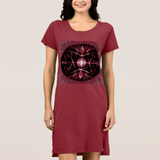 T-Shirt Dress with Spiny Black, Red and White Art