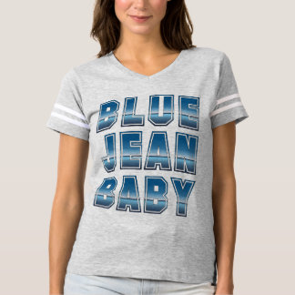 T-shirt du football de bébé de blue-jean