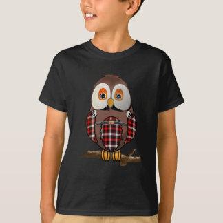T-shirt écossais de hibou de tartan