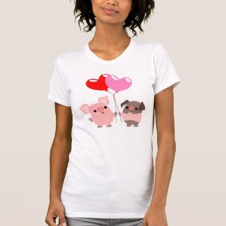 T-shirt embrouillé de femmes de coeurs (porcs de