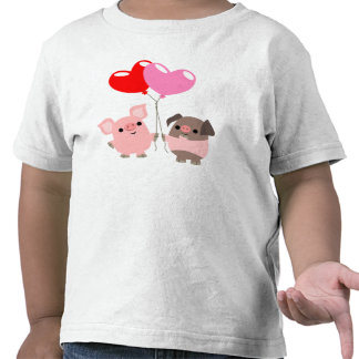 T-shirt embrouillé d'enfants de coeurs (porcs de