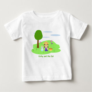 "T-shirt for baby ""Cathy and the Cat"" and apples"