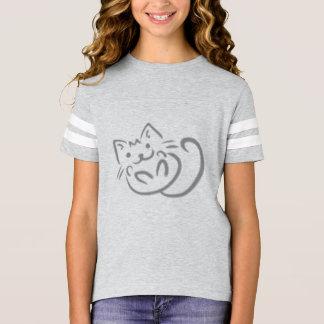 T-shirt gris de chat de Kitty de filles