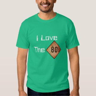 T-Shirt: I Love The 80s. Green Tshirt