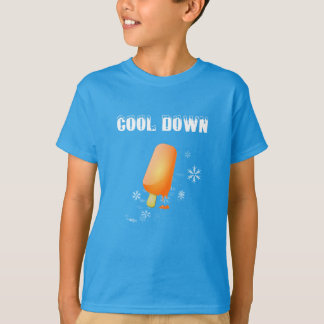 T-shirt. Ice, ice cream, flakes. Coolly down T-Shirt