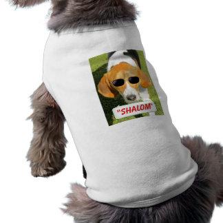 T-shirt juif frais de Shalom de lunettes de soleil Tee-shirts Pour Animaux Domestiques