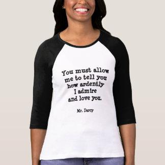 T-shirt M. Darcy Quote de Jane Austen